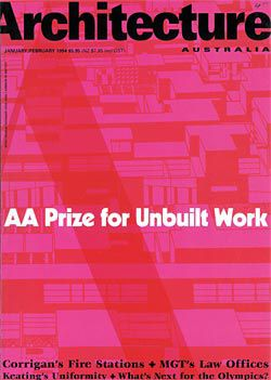 Cover of       Architecture Australia, January/ February, 1994, announcing that year's winners of the AA Prize for Unbuilt Work.