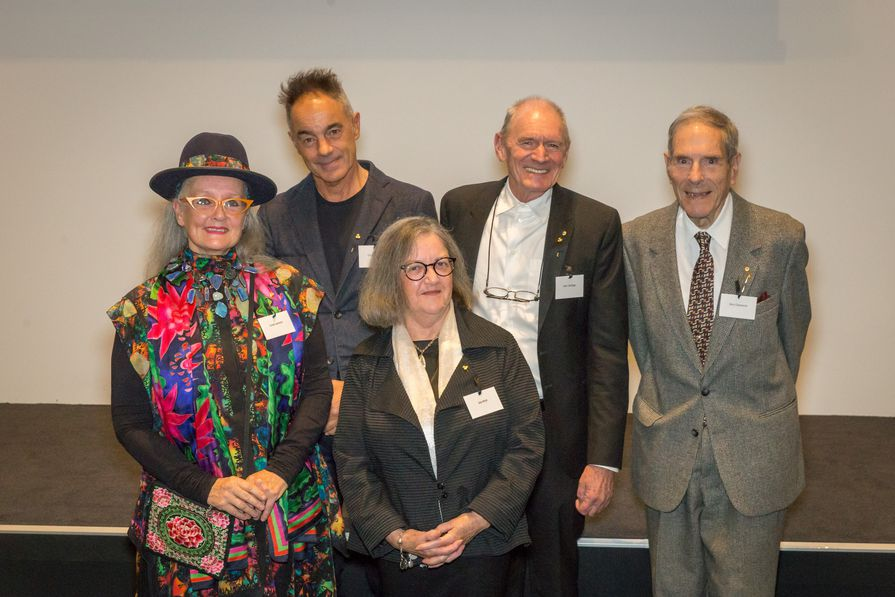 The inductees welcomed to the Hall of Fame at a gala event in Melbourne. From left: Linda Jackson, Chris Connell, Joy Hirst, John Gollings, and Gary Cleveland.