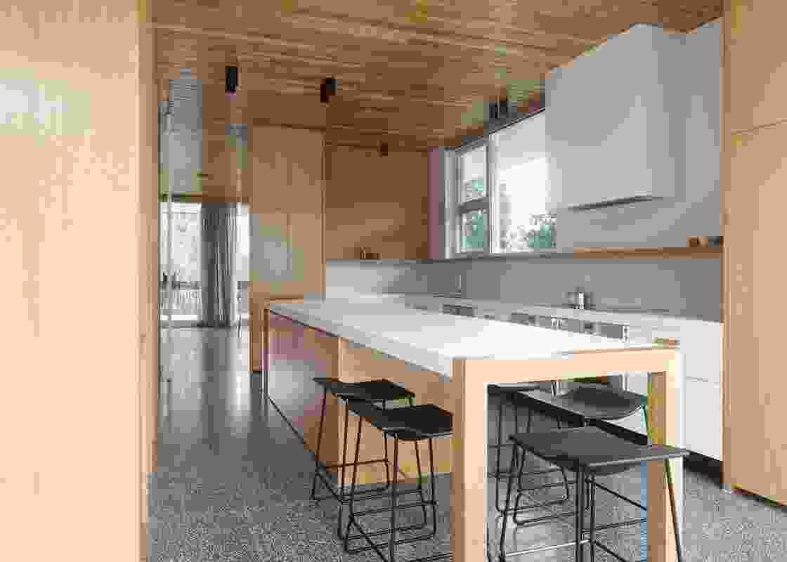 """The redesigned kitchen has been """"flipped,"""" and is now oriented towards the back garden."""