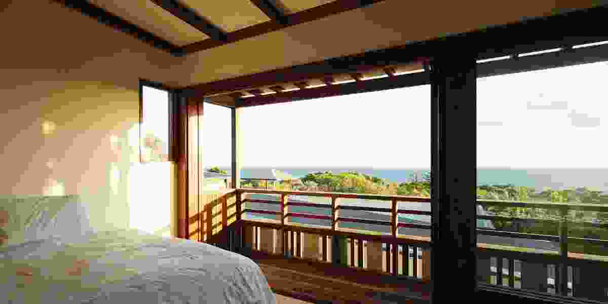 Bush and ocean views are given centre stage in the main bedroom.