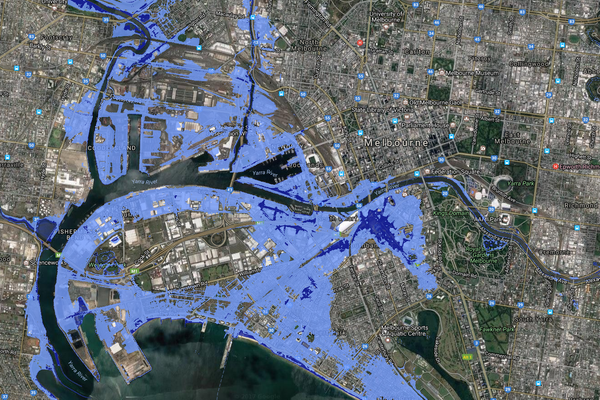 Large parts of Melbourne could be underwater by 2100, according to Coastal Risk Australia's modelling.