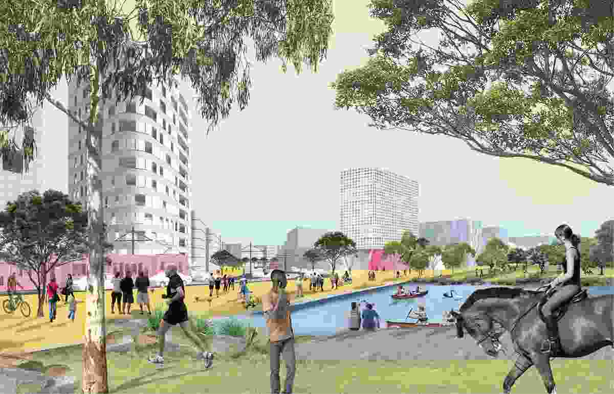 K2K proposal – Racecourse Park by James Mather Delaney Design Landscape Architects, Hill Thalis Architecture and Urban Projects, Bennett and Trimble Architecture and Urban Projects.