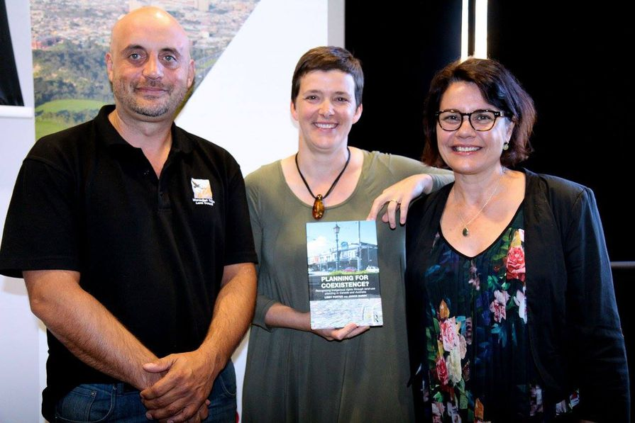 Wurundjeri Tribe Council Elder Uncle Bill Nicholson, author Libby Porter and Stacey Campton from the RMIT Ngarara Willim Indigenous Centre at the launch of book Planning for Coexistence? co-authored with Janice Barry.
