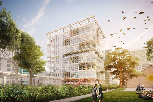 The proposed Arthur Phillip High School designed by Grimshaw and BVN.