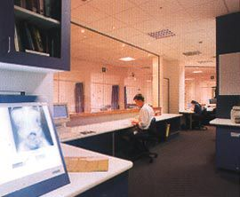One of the shared office spaces which occupy the central zone on each level.