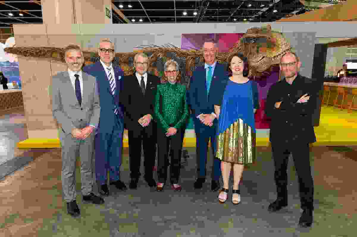 L–R: Andrew Abbot (Creative Victoria),Tim Dillon (Victorian Commissioner – Greater China), Anthony Howard QC, The Hon. Linda Dessau AC (Governor of Victoria), Martin Foley (Minister for Creative Industries), Phip Murray (co-curator, Shared Values exhibition, Melbourne Pavilion, DesignInspire exhibition), and Ewan McEoin (Senior Curator of Contemporary Design and Architecture, NGV and Co-curator, Shared Values exhibition, Melbourne Pavilion, DesignInspire exhibition).