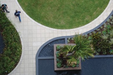 Part of the Monument residential site in Sydney, this garden serves as a bold geometric form  from above.