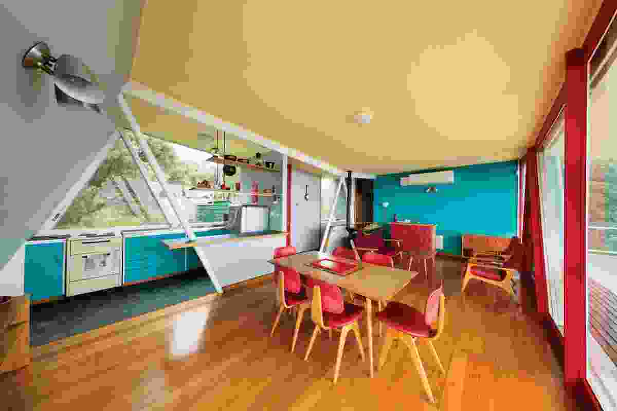 The use of colour is confident and the material palette is limited and inventive.
