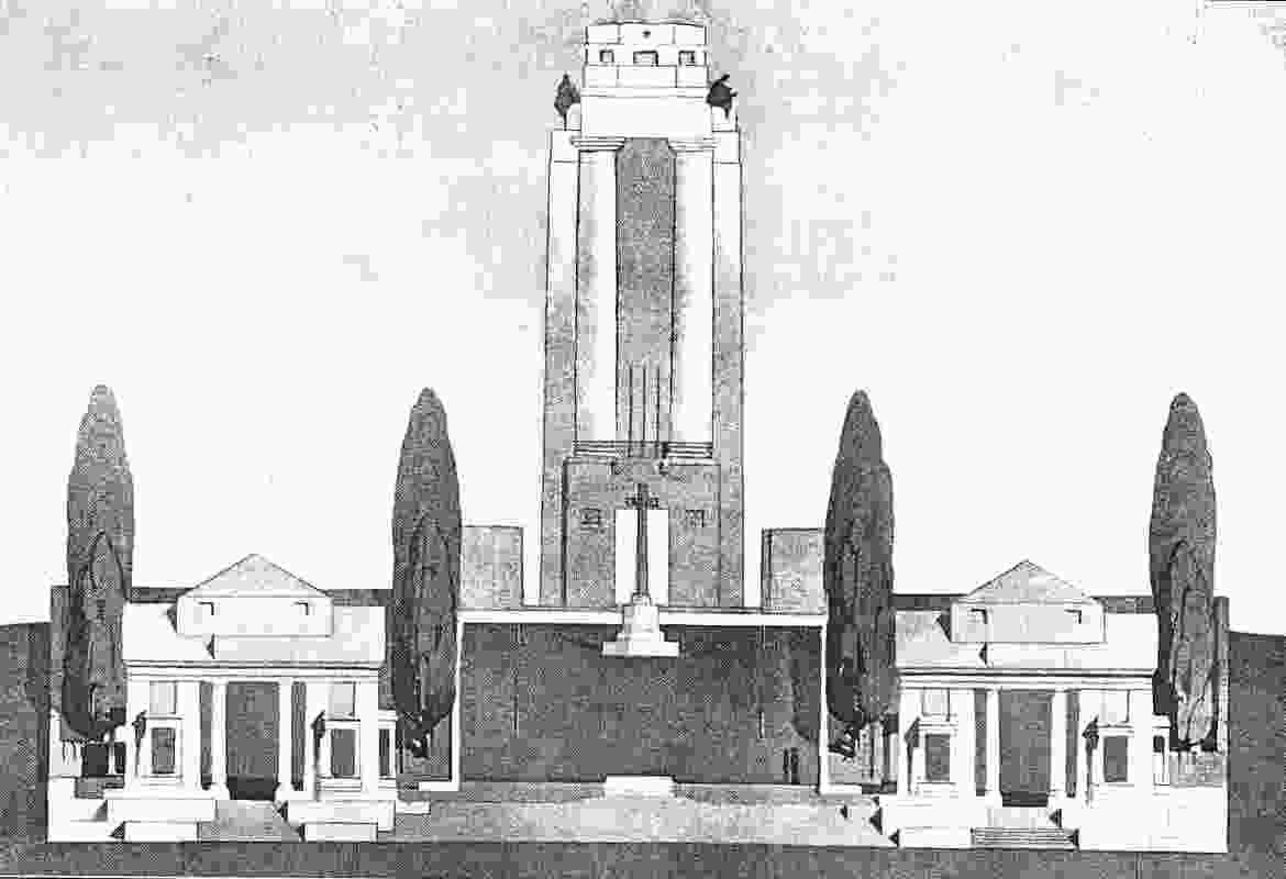 William Lucas's ink and watercolour drawing for his design of the Villers-Bretonneux war memorial (1930), with Lutyens's pre-existing entrance pavilions.