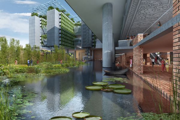 WOHA's design features a bio-retention pond that will remediate polluted water.