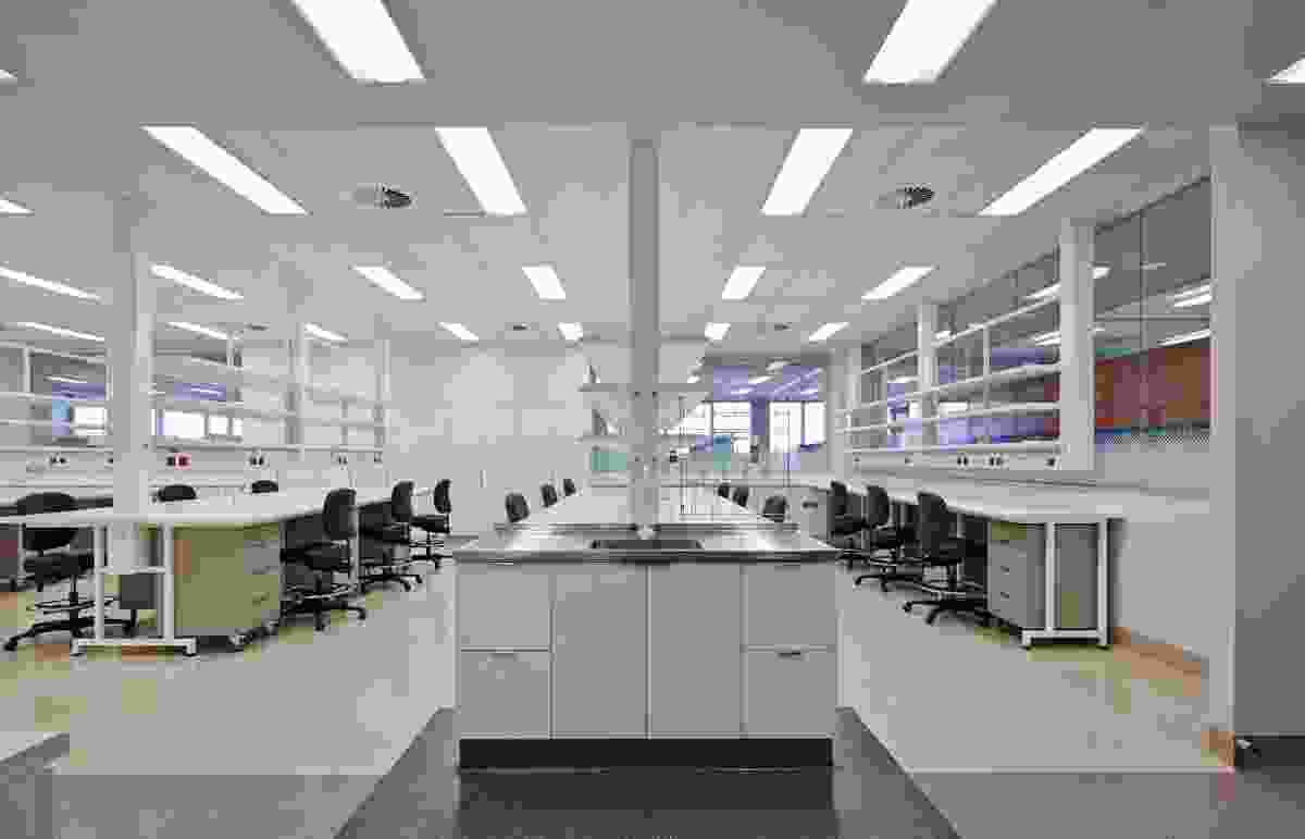 Laboratories are positioned at the centre of the floor plate, with glazed walls admitting light and allowing views into the rooms.