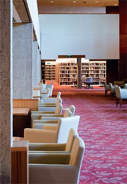 Looking along the edge of the double-height reading room. Image: Jon Linkins