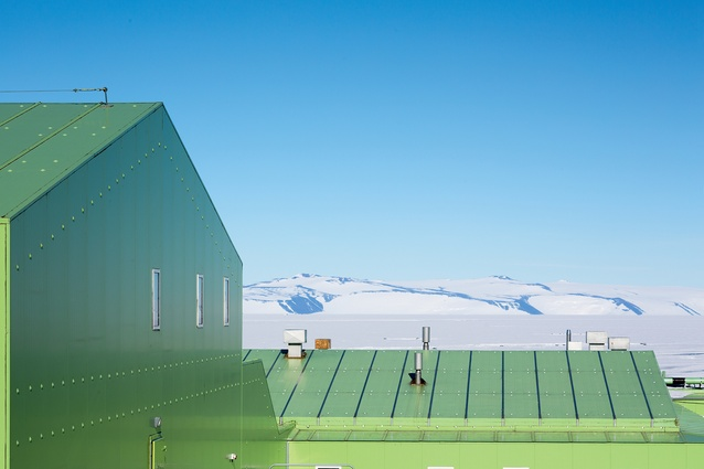 New Zealand's vivid-green research station, Scott Base, is located at Pram Point on Ross Island, near Mount Erebus.Designed by Frank Ponder, of the NZ Ministry of Works, it originally consisted of six main buildings and three smaller scientific labs but has since grown considerably.
