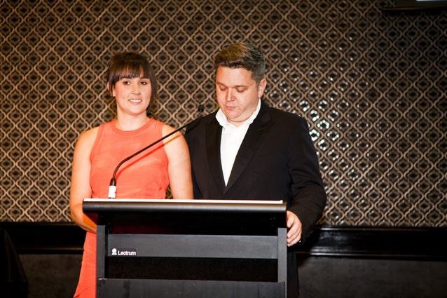 Houses Awards 2014 hosts Katelin Butler (<i>Houses</i> editor) and Cameron Bruhn (editorial director).