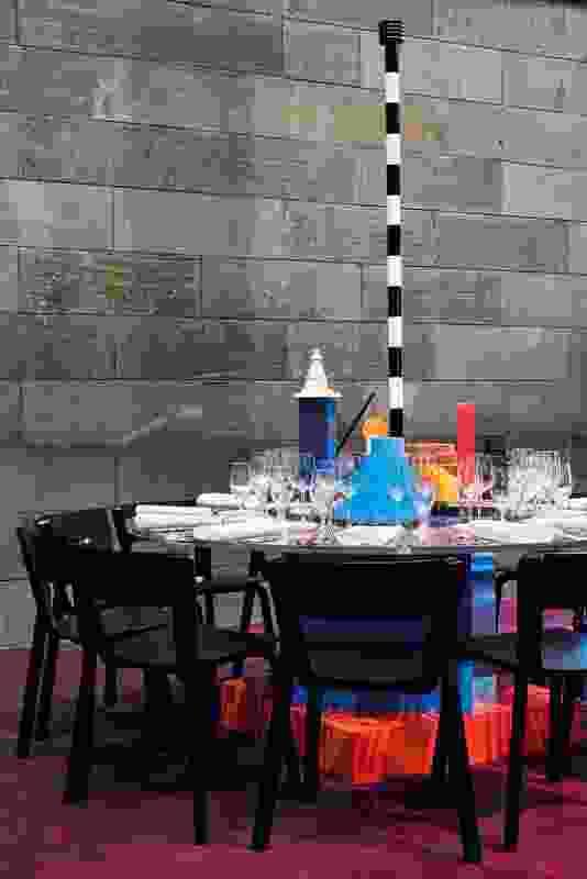 The table designed by Flack Studio and Marsha Golemac was a nod to Ettore Sottsass and Shiro Kuramata.