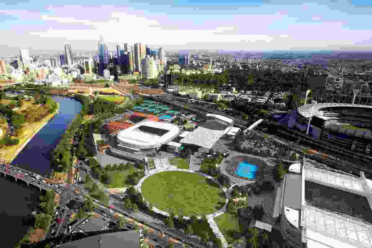Artist's impression of Melbourne Park precinct. The new Administration and Media Building is located on the northern edge of the site.