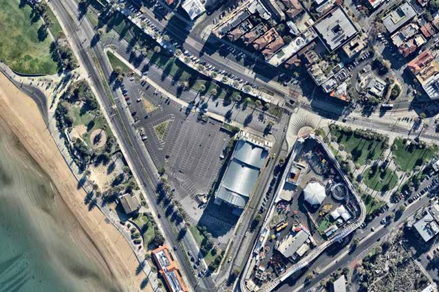 A bird's-eye view of the contentious triangular site in the beachside suburb of St Kilda.