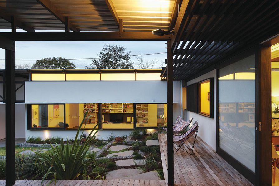 A landscape of gentle terraces is accessed via a low deck.