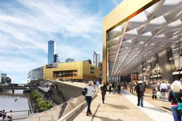 NH Architecture: Arrival via new river bridge.