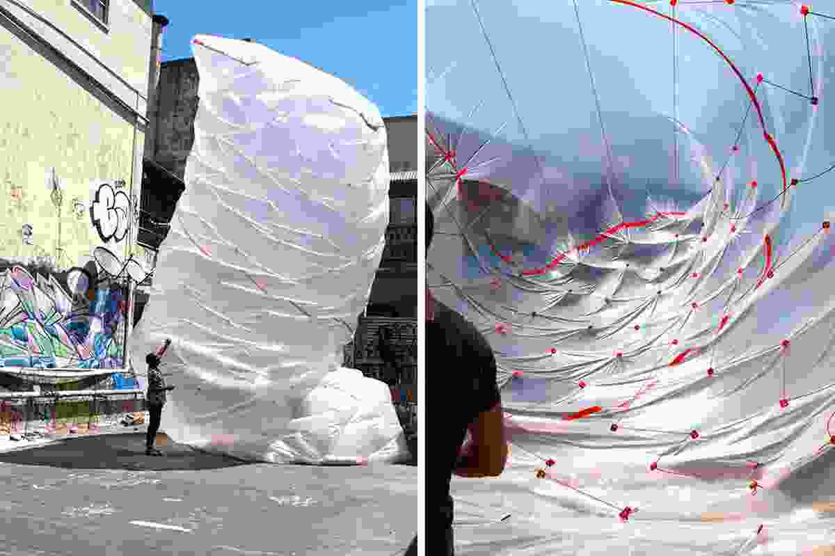 Andrew Southwood-Jones and Alexander Kashin in collaboration with Lenny Gash, Beast (2012), inflated PVC sheeting with transformable joints.