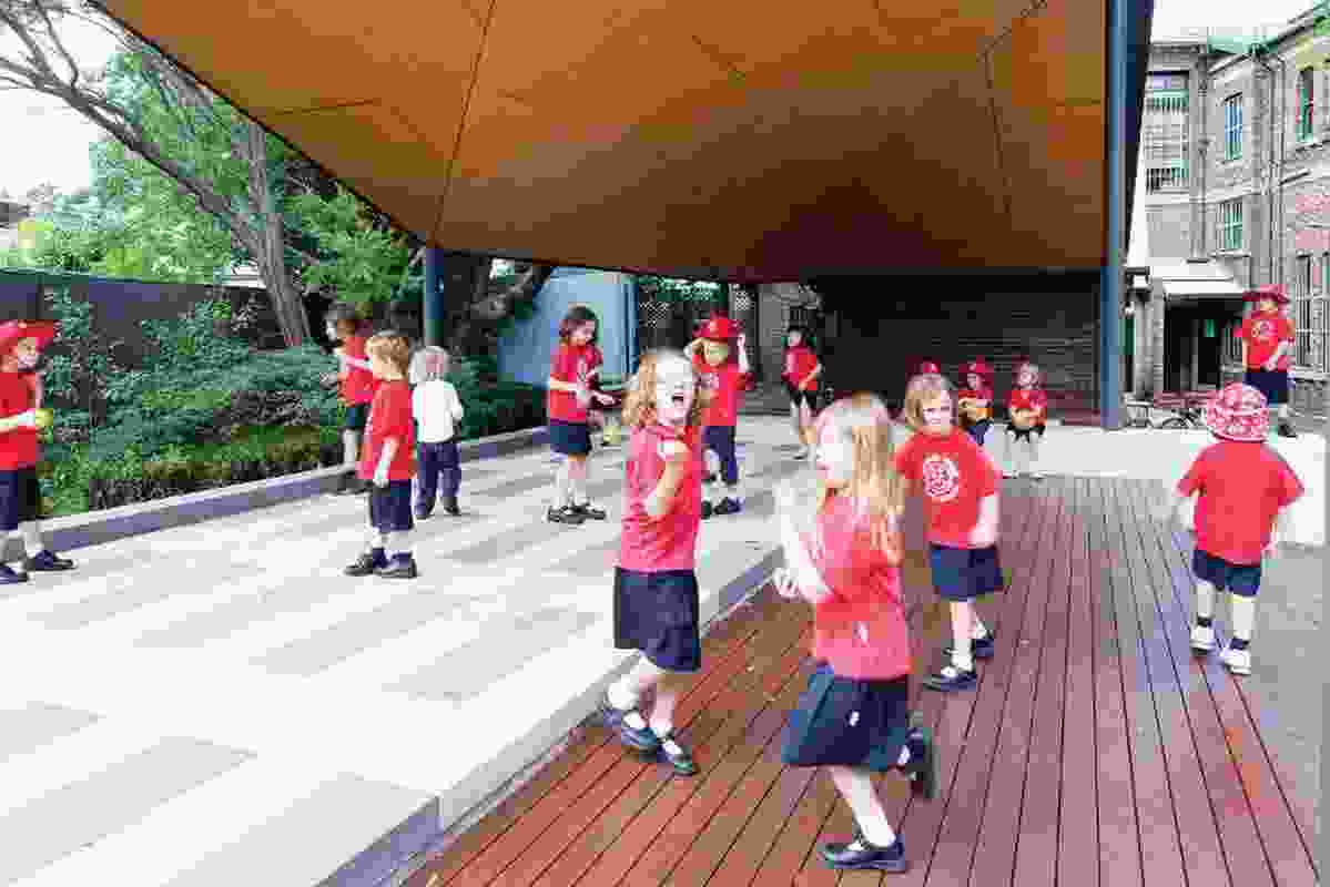 The covered outdoor learning area at Australia Street Infants School.
