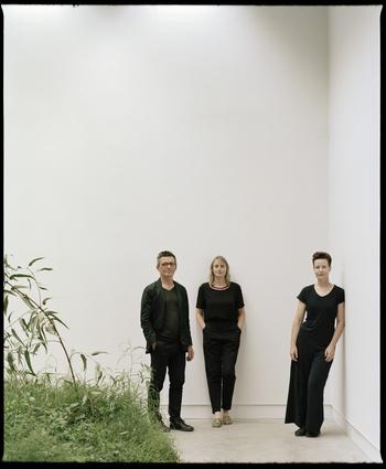 Creative directors Mauro Baracco, artist Linda Tegg, and Louise Wright.