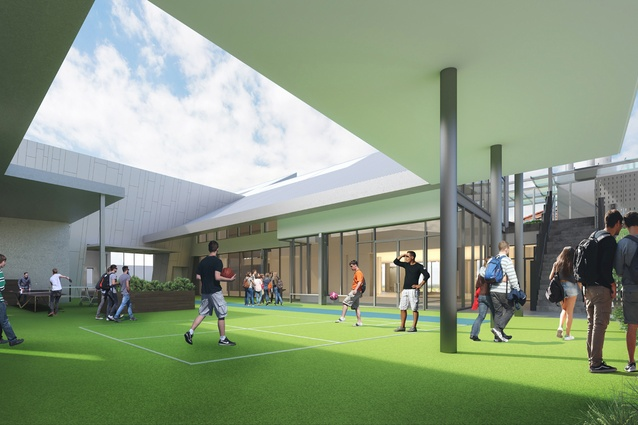 A recreational zone on level three of the proposed Prahran High School by Gray Puksand.