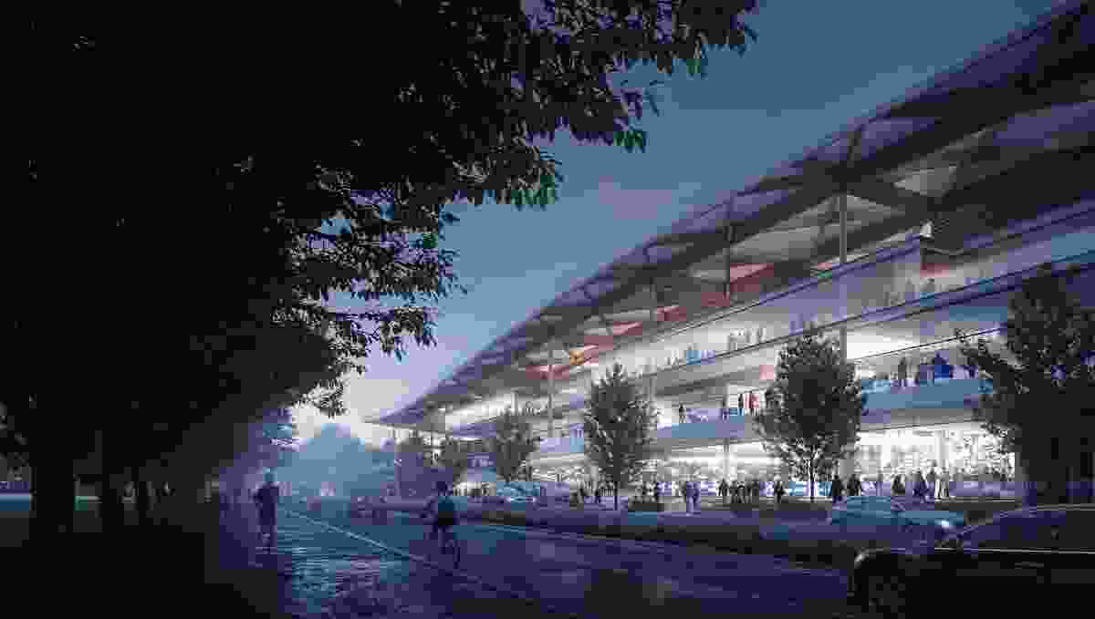 The proposed new Sydney Fish Market by 3XN, BVN and Aspect Studios from Bridge Road.
