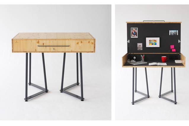 Suitcase Desk by Tilt is a contemporary take on the classic bureau, with a private, self-contained, lockable, work space.