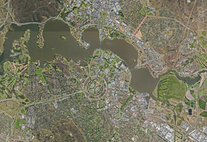 Aerial view of Canberra's Lake Burley Griffin and surrounds.