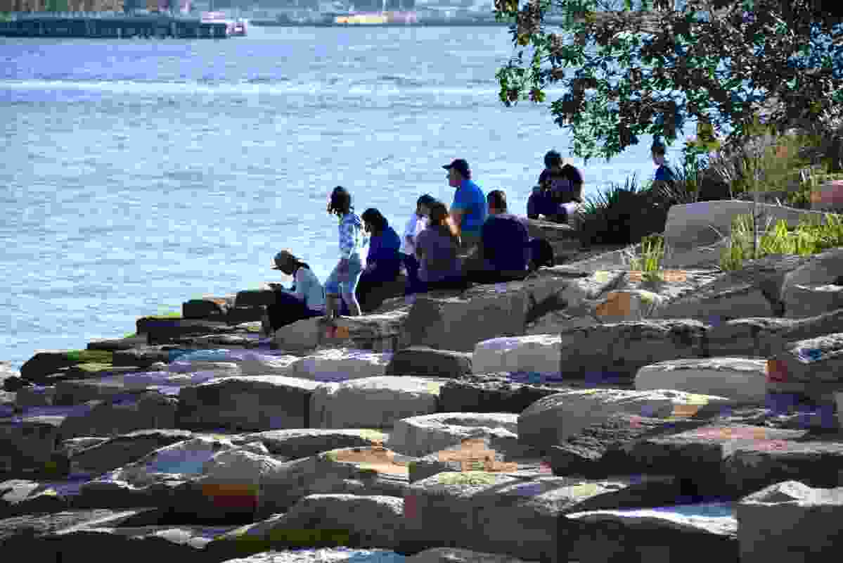 The tessellated sandstone foreshore offers plenty of opportunities for respite.