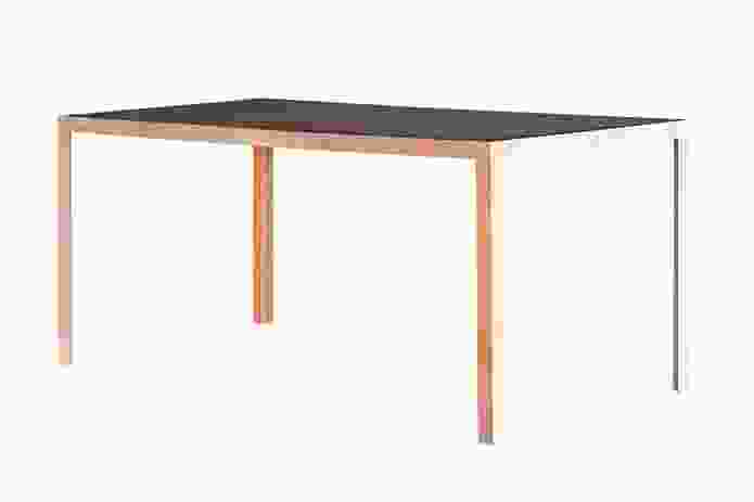 The Coexistence table, designed by Facet Studio, is made from ply and concrete slate.