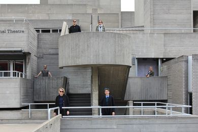 The 2019 Dulux Study Tour group at the National Theatre by Denys Lasdun and Partners. L–R: Phillip Nielsen, Carly McMahon, Ben Peake, Alix Smith, Jennifer McMaster and tour guide David Garrard.