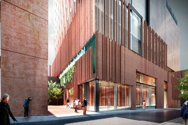 The 13-storey office tower in the Northumberland designed by John Wardle Architects is set back to create a new laneway.