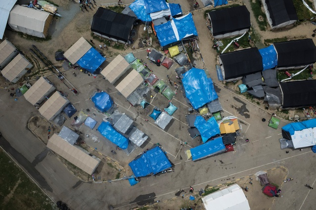 An aerial view of the Eko service station refugee camp near Polykastro, Greece. Approximately 1,900 people live here.
