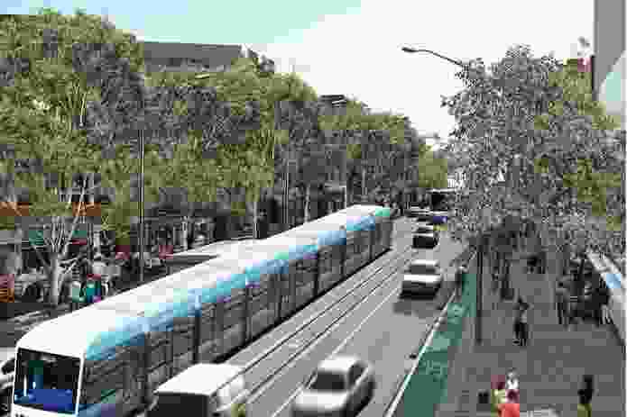 The vision for Parramatta Road's regeneration includes light rail to alleviate traffic.