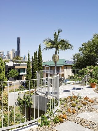 A monolith green roof holds the house's disparate parts together and provides city views.