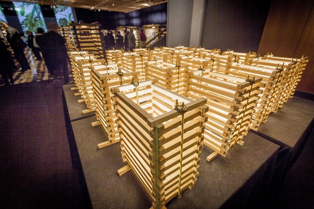 Smaller versions of the stacked towers were used as table centrepieces.