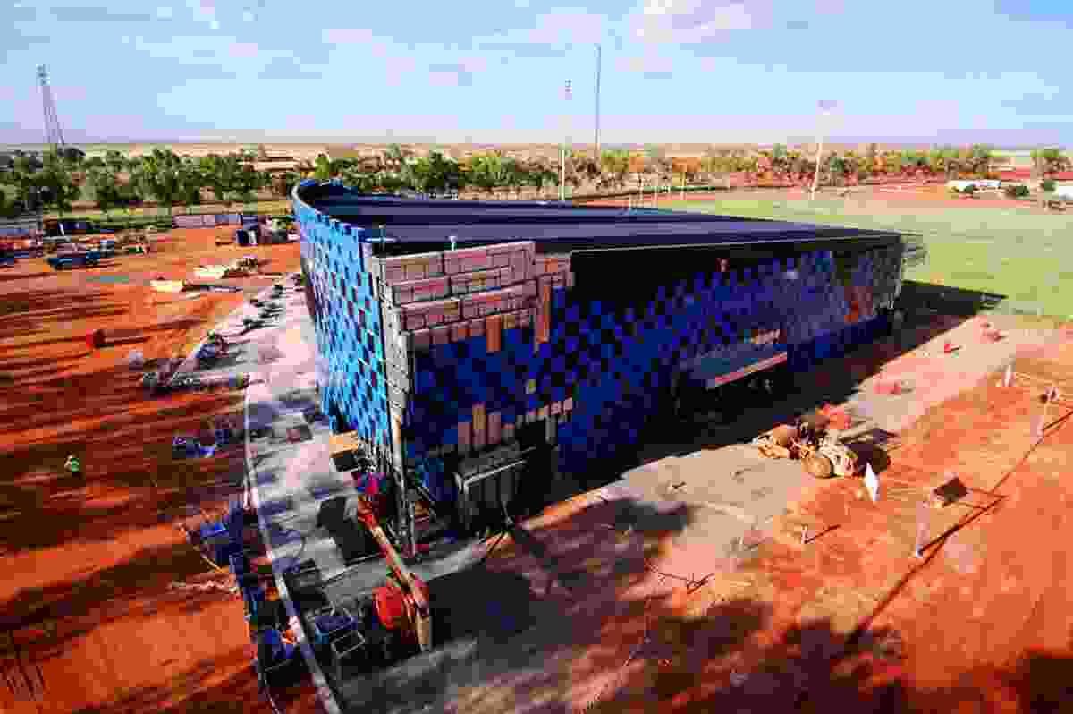 The facade under construction.