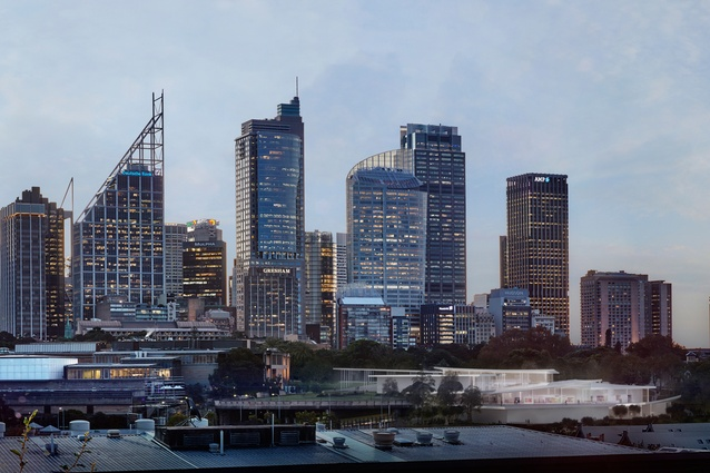 In progress image of Sydney Modern Project, close-up of dusk view from Woolloomooloo In progress image of Sydney Modern Project, dusk view from Woolloomooloo as produced by Kazuyo Sejima + Ryue Nishizawa / SANAA.