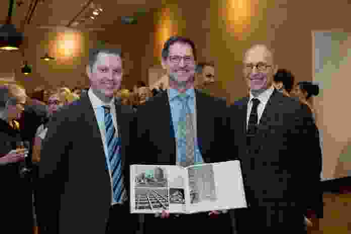 Conrad Gargett's newly-appointed Managing Director Lawrence Toaldo, National President of the Australian Institute of Architects Richard Kirk and Conrad Gargett's former Managing Director Bruce Wolfe.