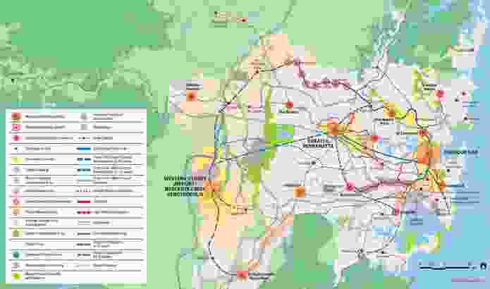 Planned and proposed residential and infrastructure development from the Draft Greater Sydney Region Plan.