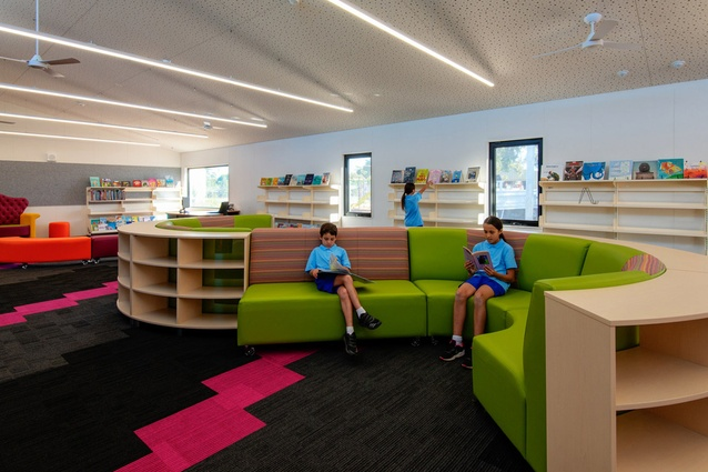 Interior of new prefabricated library at Altona Primary School by Arkit.