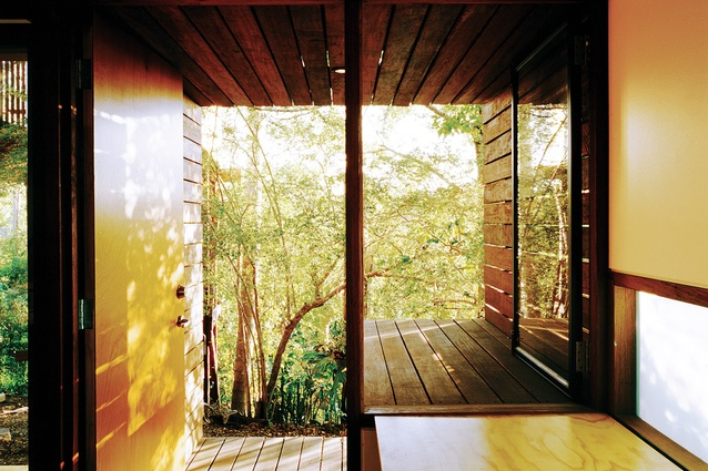 Armstrong house 2002. The freestanding studio addition extends away from the house to nestle amongst the lush greenery of the site.