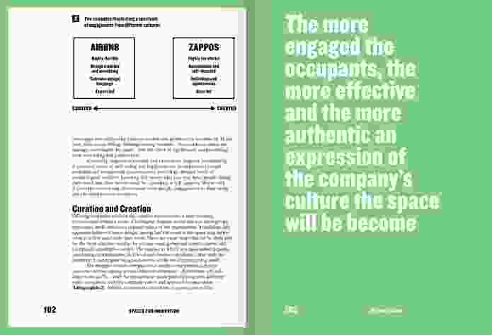 Spread from Spaces for Innovation, showing Infographic 2: Two examples illustrating a spectrum of engagement from different cultures.