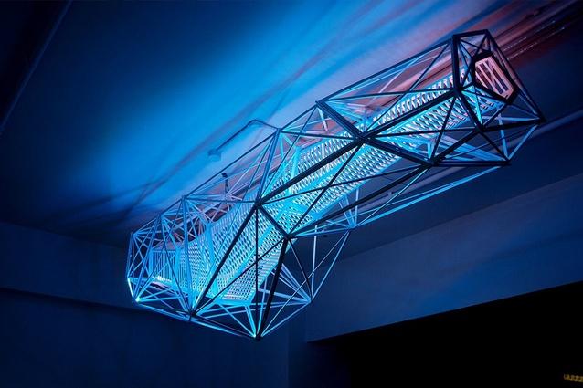 Andrew Southwood-Jones and Alexander Kashin, <em>Twisted</em> (2012), LED and plywood.
