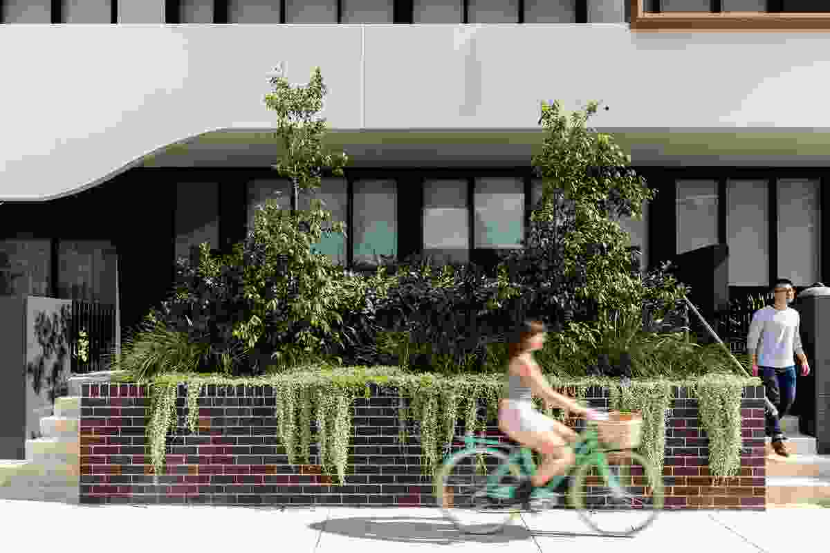 Raised planters at street
