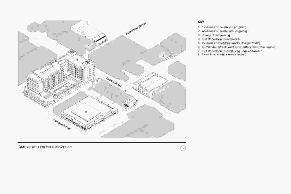 Isometric drawing of the James Street Precinct.