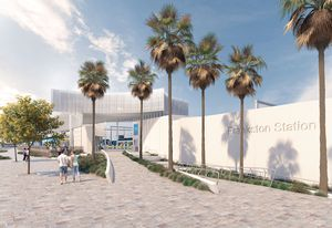 The updated design for Frankston Station by Genton Architecture and McGregor Coxall.