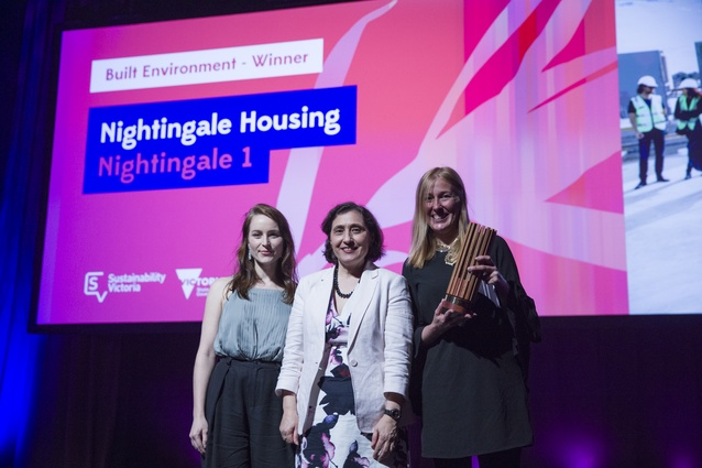 Nightingale director Bonnie Herring, Minister for Energy, Environment and Climate Lily D'Ambrosio and Nightingale Housing director Angela Perry at the Premier's Sustainability Awards.